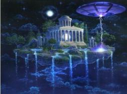 Atlantean-Classic Monument on island in space w ship